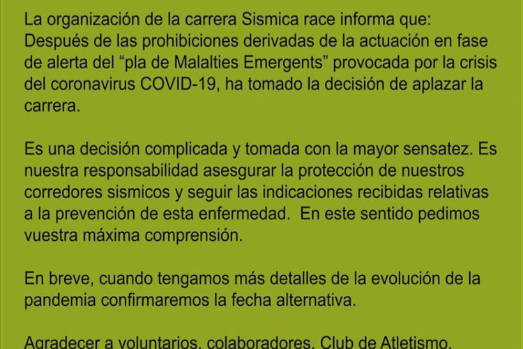 COMUNICADO OFICIAL DE APLAZAMIENTO